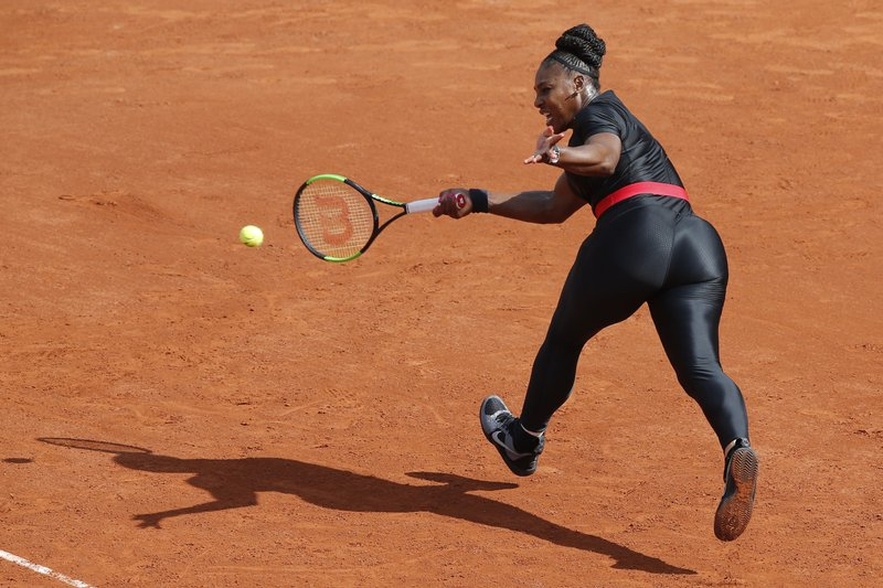 FILE - In this May 29, 2018, file photo, Serena Williams, of the United States, returns a shot against Krystyna Pliskova, of the Czech Republic, during their first round match of the French Open tennis tournament at the Roland Garros stadium in Paris. (AP Photo/Michel Euler, File)