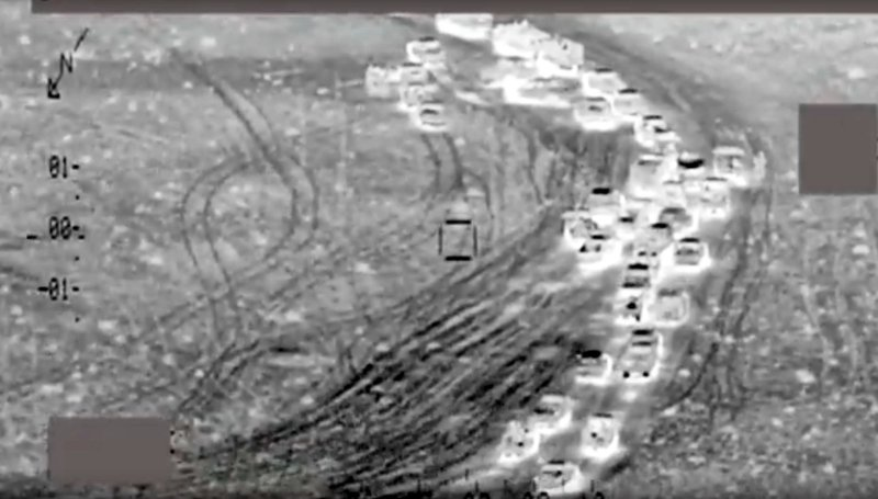 FILE - This file image made from undated video released by Iraq's Ministry of Defense on Saturday, July 2, 2016, shows aerial images of purported air strikes on an Islamic State group convoy and militants, near Fallujah, Iraq. (Iraqi Ministry of Defense via AP, File)