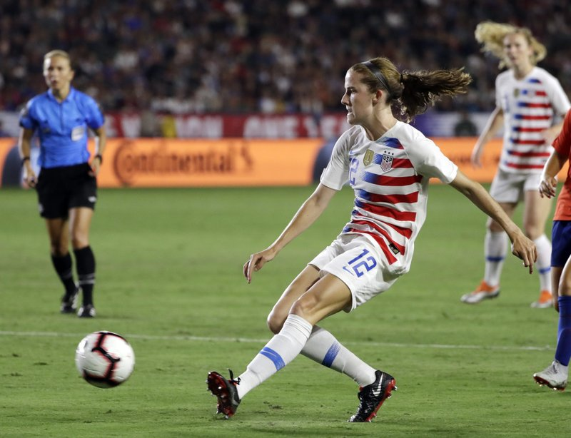 FILE - In this Aug. 31, 2018, file photo, United States' Tierna Davidson shoots against Chile during the second half of an international friendly soccer match, in Carson, Calif. (AP Photo/Marcio Jose Sanchez, File)