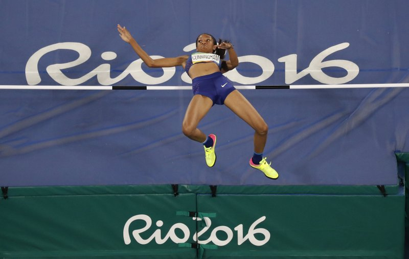 File-This Aug. 20, 2016, file photo shows United States' Vashti Cunningham competing in the high jump finals during the athletics competitions of the 2016 Summer Olympics at the Olympic stadium in Rio de Janeiro, Brazil. (AP Photo/Morry Gash, File)