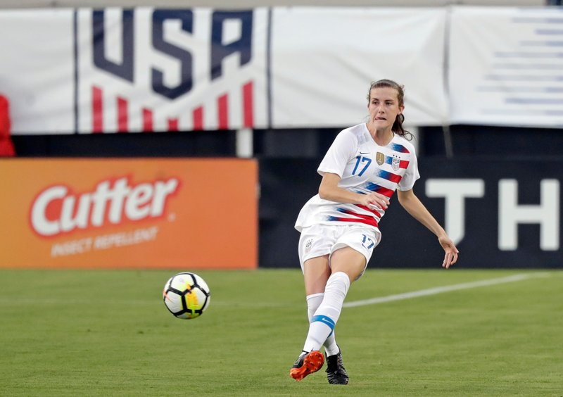 File-This April 5, 2018, file photo shows United States' Tierna Davidson moving the ball against the Mexico during the first half of an international friendly soccer match in Jacksonville, Fla. (AP Photo/John Raoux, File)