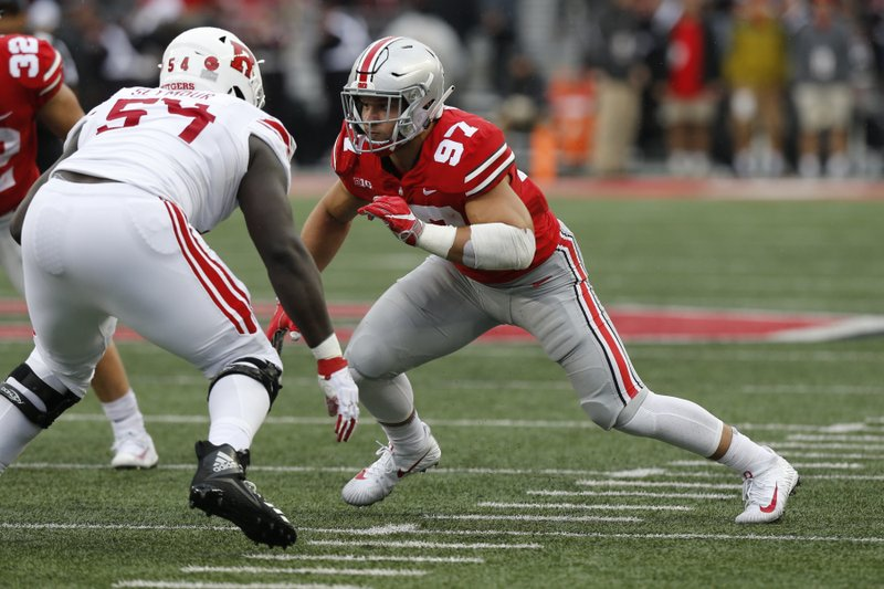 File-This Sept. 8, 2018, file photo shows Ohio State defensive lineman Nick Bosa playing against Rutgers during an NCAA college football game in Columbus, Ohio. (AP Photo/Jay LaPrete, File)