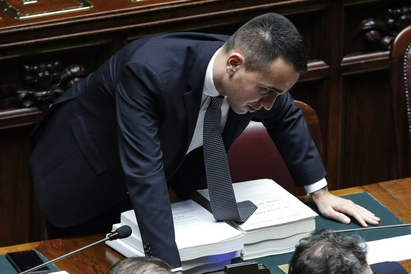 Italian deputy P{premier Luigi Di Maio attends a debate prior to a final vote to formally approve the 2019 budget law, at the Italian lower chamber of the Italian Parliament, in Rome, Sunday, Dec. (Giuseppe Lami/ANSA via AP)