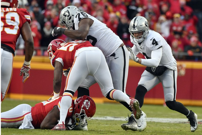Oakland Raiders offensive tackle Brandon Parker (75) and quarterback Derek Carr (4) stand over Kansas City Chiefs linebacker Justin Houston, bottom left, who recovers a fumble by the Oakland Raiders for a turnover, during the first half of an NFL football game in Kansas City, Mo. (AP Photo/Ed Zurga)