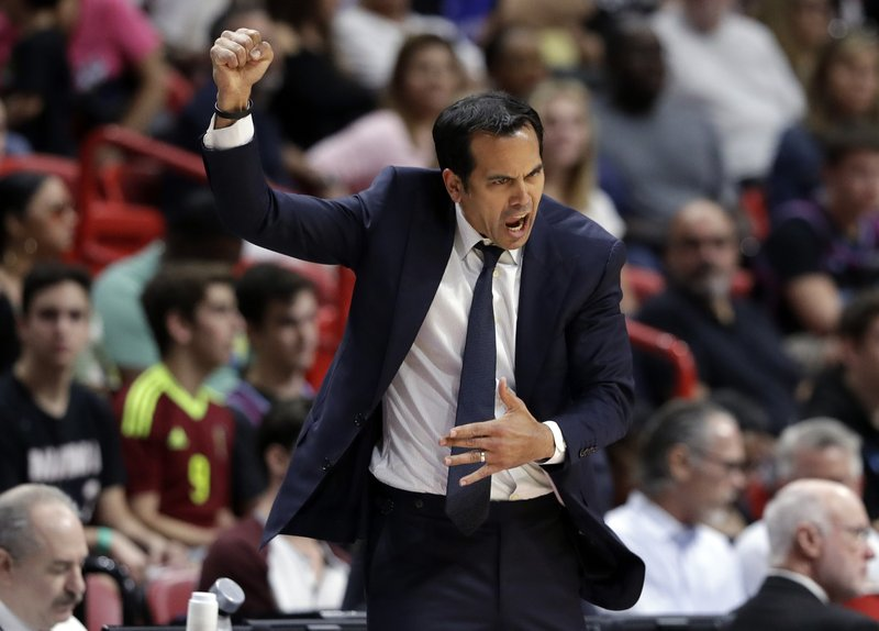 Miami Heat head coach Erik Spoelstra reacts during the first half of an NBA basketball game against the Minnesota Timberwolves, Sunday, Dec. (AP Photo/Lynne Sladky)