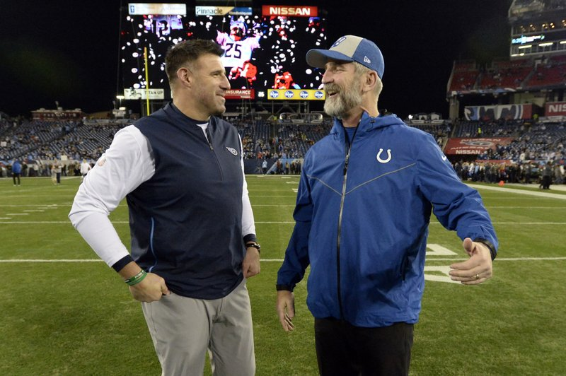 Tennessee Titans head coach Mike Vrabel, left, talks with Indianapolis Colts head coach Frank Reich before an NFL football game Sunday, Dec. (AP Photo/Mark Zaleski)