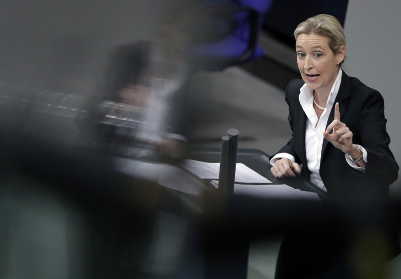 FILE - In this file photo dated Wednesday, Nov. 21, 2018, Alice Weidel, co-faction leader of the Alternative for Germany party, delivers a speech during the budget debate of the German federal parliament, Bundestag, at the Reichstag building in Berlin, Germany. (AP Photo/Michael Sohn, FILE)