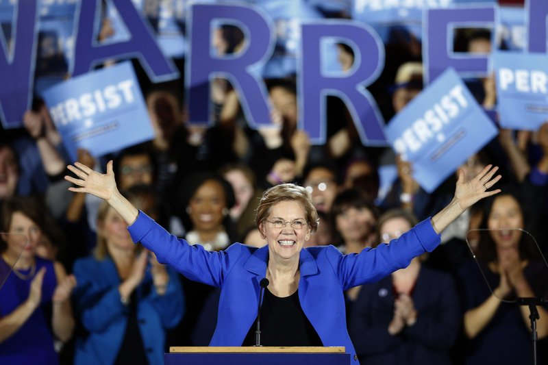 FILE - In this Nov. 6, 2018, file photo, Sen. Elizabeth Warren, D-Mass., gives her victory speech at a Democratic election watch party in Boston. (AP Photo/Michael Dwyer, File)