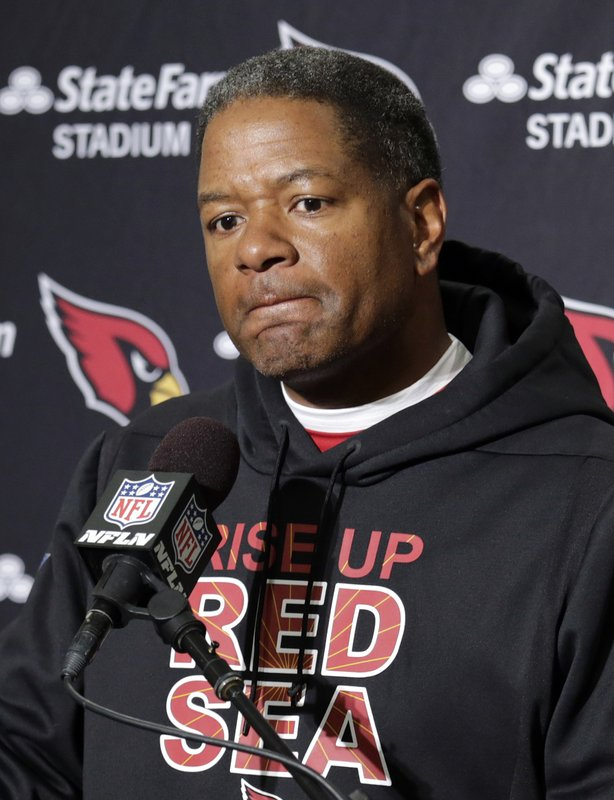 Arizona Cardinals head coach Steve Wilks speaks with reporters after the team lost to the Seattle Seahawks in an NFL football game, Sunday, Dec. (AP Photo/John Froschauer)