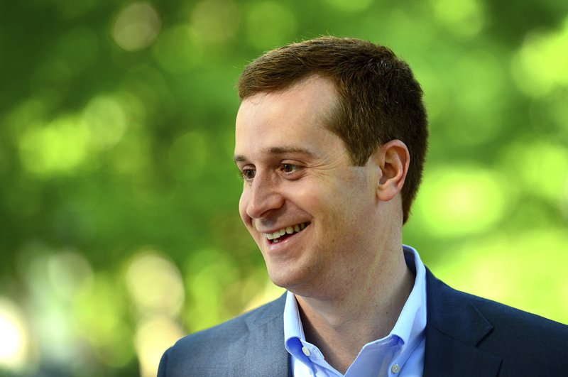 FILE - Int his May 8, 2018 file photo, Ninth Congressional district Democratic candidate Dan McCready smiles outside Eastover Elementary School in Charlotte, N. (Jeff Siner/The Charlotte Observer via AP, File)