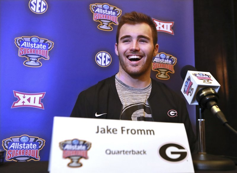 Georgia's quarterback Jake Fromm takes questions during a news conference for the Sugar Bowl NCAA college football game against Texas on Sunday, Dec 30, 2018, in New Orleans. (Curtis Compton/Atlanta Journal-Constitution via AP)