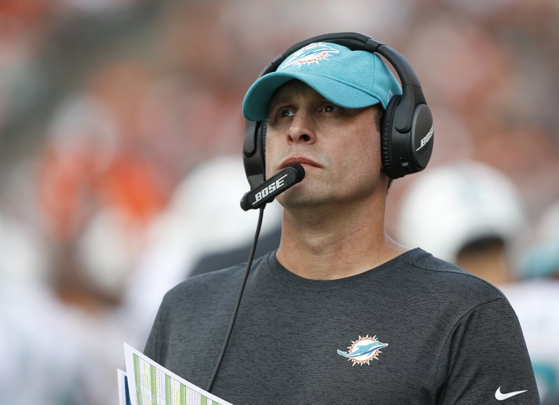 FILE - In this Oct. 7, 2018, file photo Miami Dolphins head coach Adam Gase stand on the sideline during the first half of an NFL football game against the Cincinnati Bengals in Cincinnati. (AP Photo/Gary Landers, File)