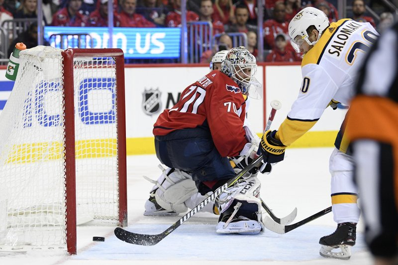 Nashville Predators right wing Miikka Salomaki (20), of Finland, scores a goal against Washington Capitals goaltender Braden Holtby (70) during the second period of an NHL hockey game, Monday, Dec. (AP Photo/Nick Wass)