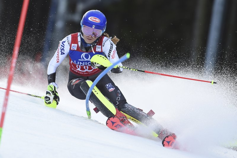 Mikaela Shiffrin, of the United States, competes during the first run of an Alpine ski, women's World Cup slalom in Semmering, Austria, Saturday, Dec. (AP Photo/Marco Tacca)