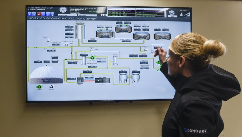 In this Tuesday, Dec. 11, 2018 photo, Assistant Public Utilities Director Tracy Hodel points to components in the biogas utilization system on a control-room screen at the Wastewater Treatment Facility in St. (Dave Schwarz/St. Cloud Times via AP)