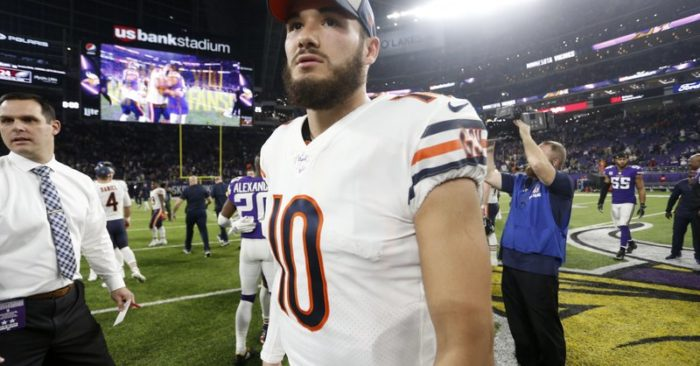 Chicago Bears quarterback Mitchell Trubisky walks off the field after an NFL  football game against the Minnesota Vikings 85e132bde