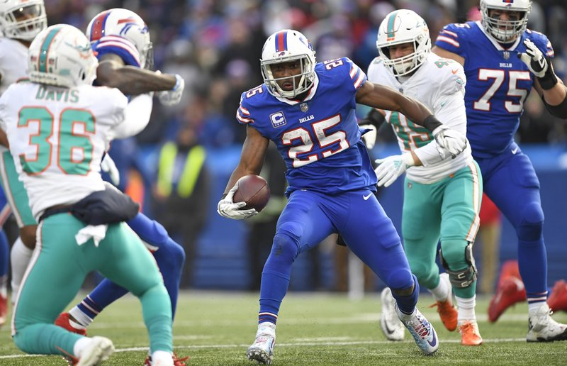 Buffalo Bills running back LeSean McCoy (25) rushes for a 9-yard touchdown during the second half of an NFL football game against the Miami Dolphins, Sunday, Dec. (AP Photo/Adrian Kraus)