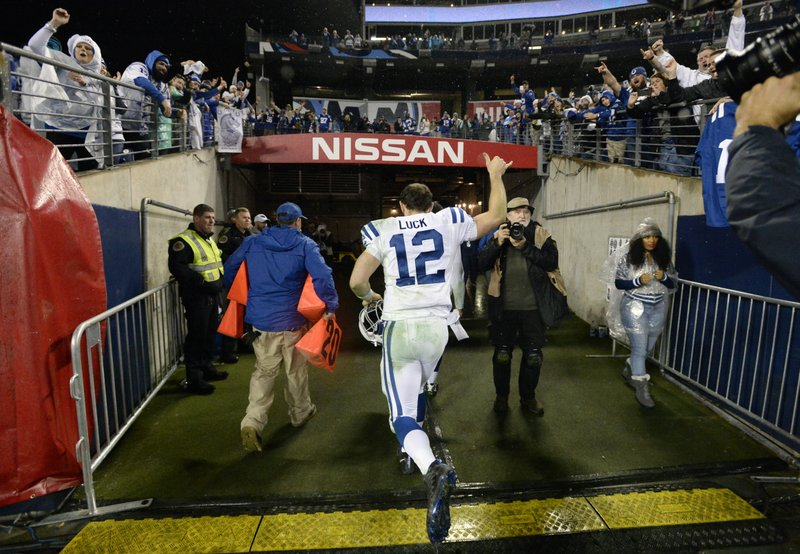 Indianapolis Colts quarterback Andrew Luck leaves the field after an NFL football game against the Tennessee Titans Sunday, Dec. (AP Photo/Mark Zaleski)