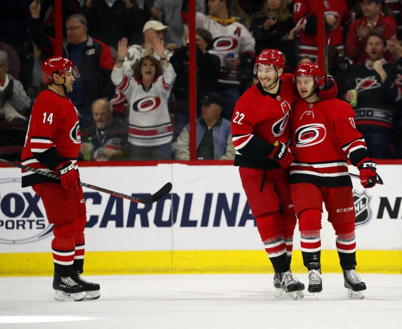 Carolina Hurricanes' Lucas Wallmark (71), right, is congratulated by teammates Brett Pesce (22) and Justin Williams (14) during the first period of an NHL hockey game against the Philadelphia Flyers, Monday, Dec. (AP Photo/Karl B DeBlaker)