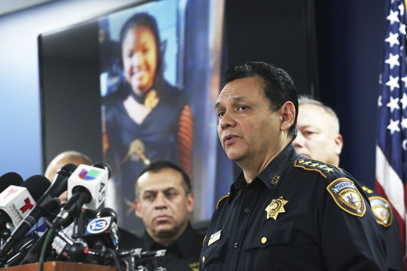 Harris County Sheriff Ed Gonzalez speaks during a news conference, Monday, Dec. 31, 2018, in Houston. (Nicole Hensley/Houston Chronicle via AP)