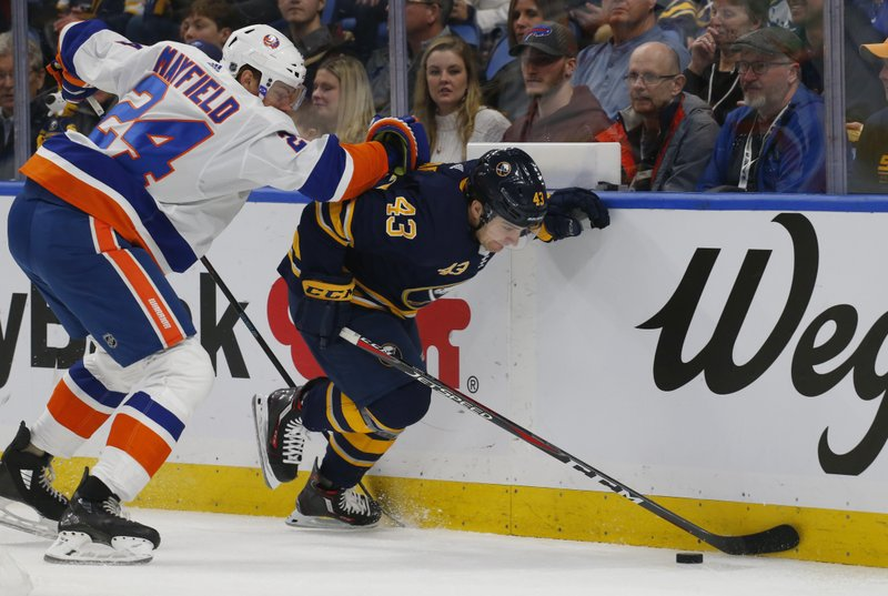 Buffalo Sabres forward Conor Sheary (43) skates past New York Islanders defenseman Scott Mayfield (24) during the first period of an NHL hockey game, Monday, Dec. (AP Photo/Jeffrey T. Barnes)