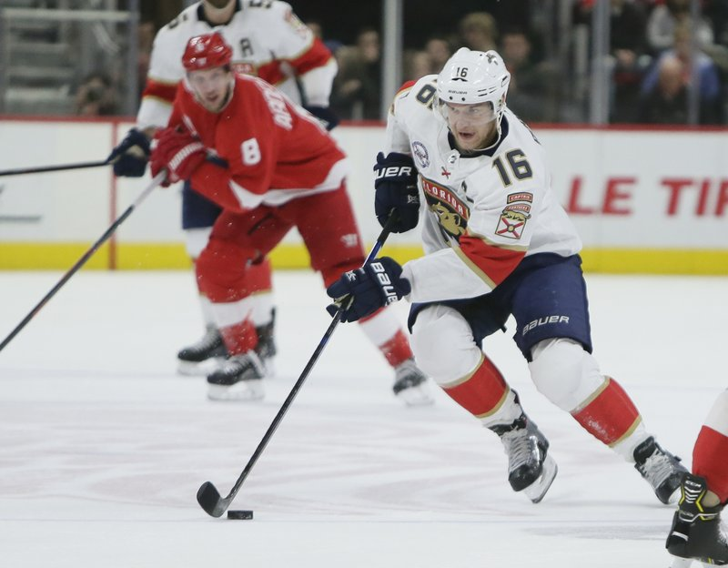 Florida Panthers center Aleksander Barkov (16), of Finland, drives down the ice against the Detroit Red Wings during the first period of an NHL hockey game Monday, Dec. (AP Photo/Duane Burleson)
