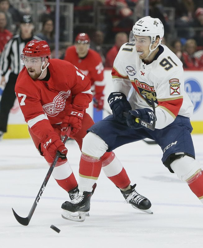 Detroit Red Wings defenseman Filip Hronek (17), of the Czech Republic, tries to steal the puck from Florida Panthers right wing Juho Lammikko (91), of Finland, during the third period of an NHL hockey game Monday, Dec. (AP Photo/Duane Burleson)