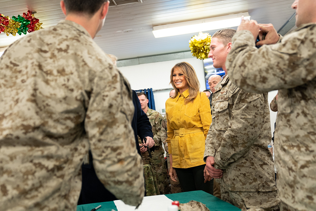 President Donald J. Trump and First Lady Melania Trump shake hands and speak with U.S. troops Wednesday, December 26, 2018, at the Al-Asad Airbase in Iraq. (Official White House Photo by Shealah Craighead)