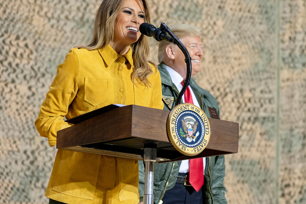 First Lady Melania Trump, joined by President Donald J. Trump, addresses her remarks to U.S. troops Wednesday, December 26, 2018, at the Al-Asad Airbase in Iraq. (Official White House Photo by Shealah Craighead)