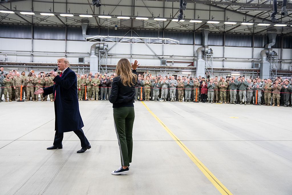 President Donald J. Trump and First Lady Melania Trump meet with U.S. military personnel during a stop-over at Ramstein Air Force Base in Germany Wednesday evening, December 26, 2018, following their unannounced visit to U.S. troops at the Al-Asad Airbase in Iraq. (Official White House Photo by Shealah Craighead)