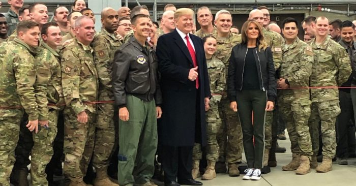 President Trump and FLOTUS meet with Troops at Ramstein Air Base. (Photo: Twitter)