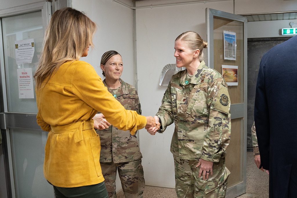 First Lady Melania Trump stops to shake hands with military personnel during her visit with U.S. troops Wednesday, December 26, 2018, at the Al-Asad Airbase in Iraq. (Official White House Photo by Shealah Craighead)