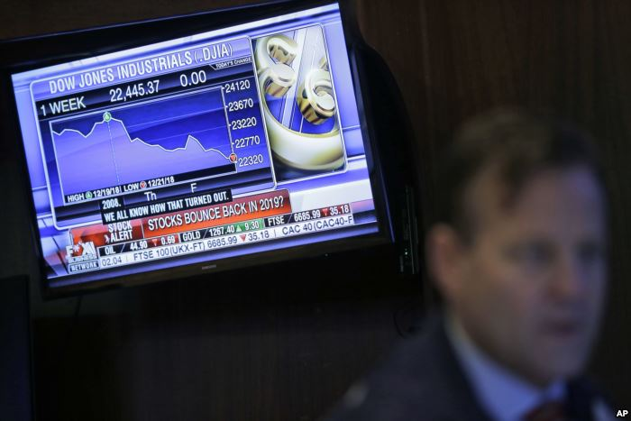A TV displays financial information on the floor of the New York Stock Exchan