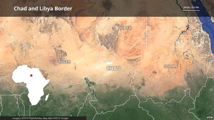 Chad-Libya border map