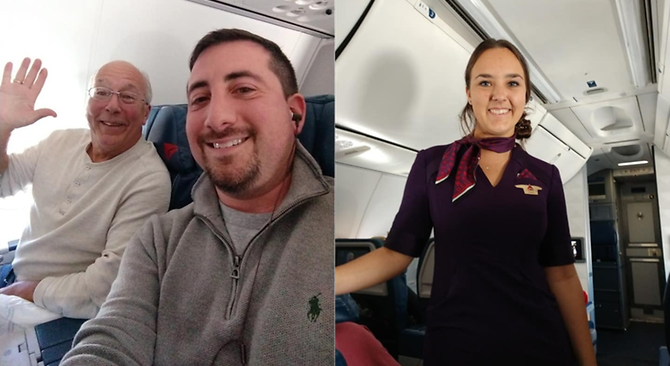 Fellow passenger Mike Levy shared the heartwarming story in a Facebook post. (Photos: Facebook / Mike Levy)