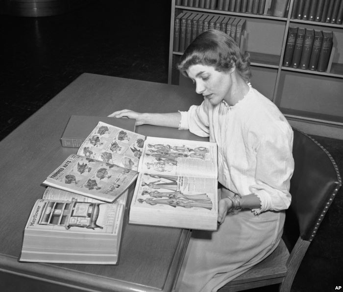 FILE - In an undated file photo, a librarian at the Chicago Public Library st