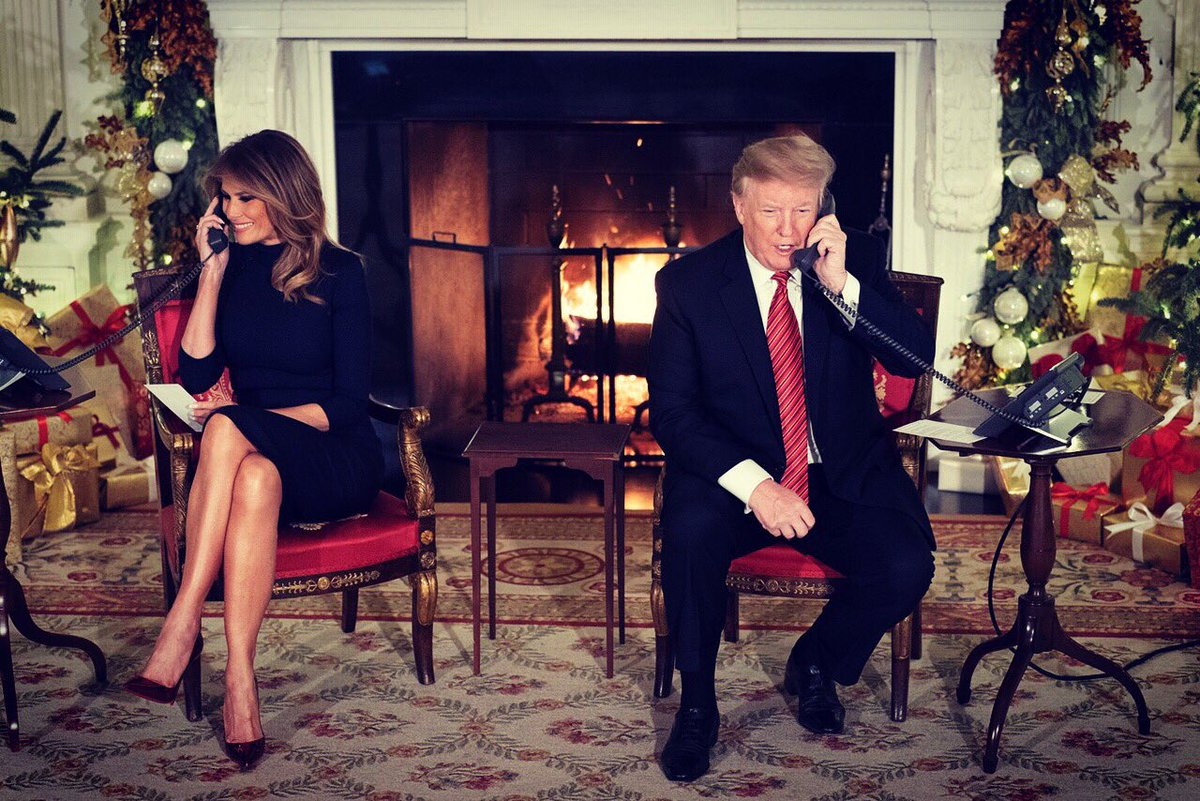 On Christmas Eve the president and the first lady took calls from children phoning into NORAD's Santa tracker.