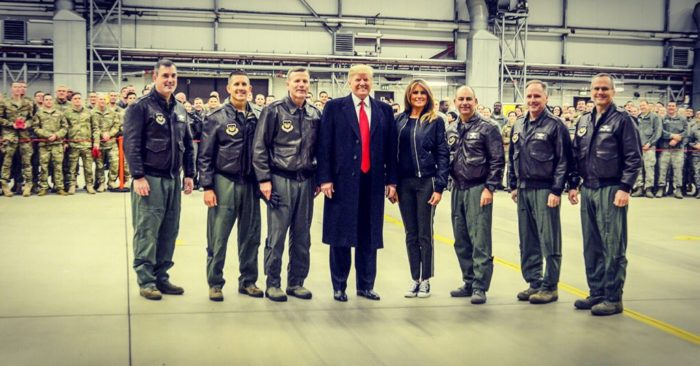 President Trump and First Lady Melania at the US army base in Germany. (Photo: Twitter/Melania Trump)