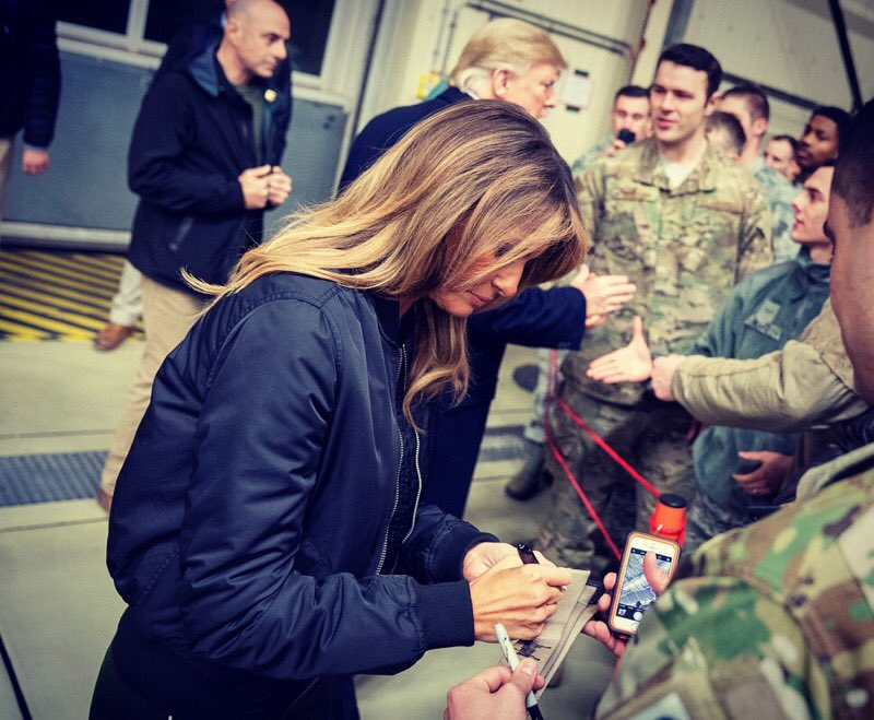 President Trump and First Lady Melania at Ramstein Air Base in Germany. (Photo: Twitter/Melania Trump)