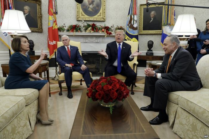 President Donald Trump and Vice President Mike Pence meet with Senate Minorit