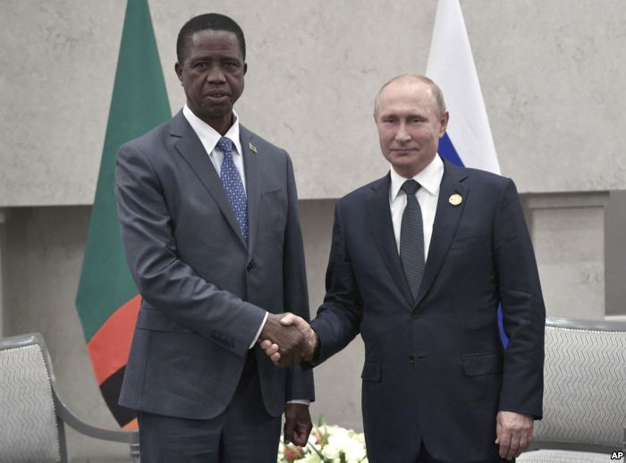 President Edgar Chagwa Lungu of Zambia, left, and Russia's President Vlad