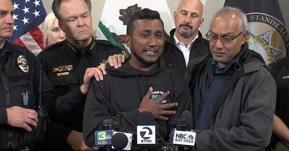Officer Ronil Singh's brother Reggie Singh wept as he thanked local law enforcement for capturing the suspect, Gustavo Perez Arriaga