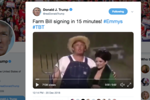 Donald Trump signs $867B farm bill with 'Green Acres' parody video