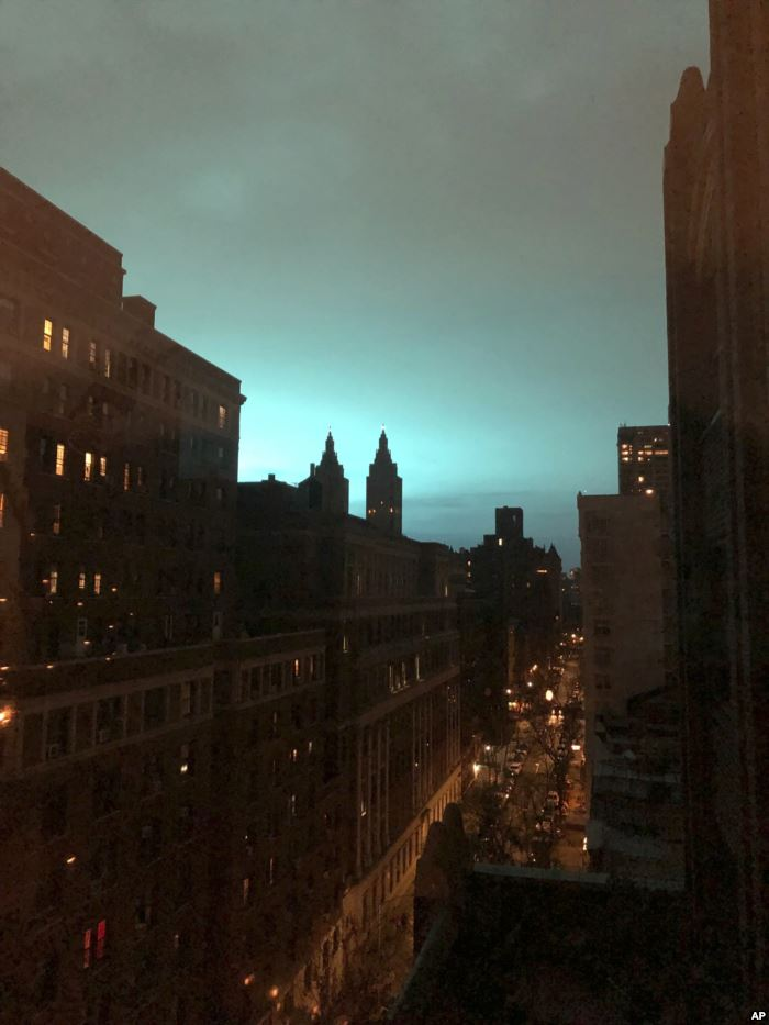 This photo shows blue light over New York, as seen from New York's Manhat