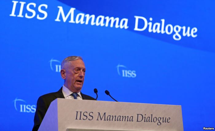 U.S. Defense Secretary James Mattis speaks during the second day of the 14th