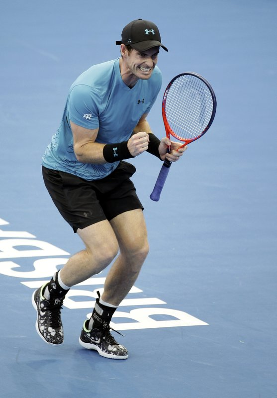 Andy Murray of Britain reacts after winning his match against James Duckworth of Australia at the Brisbane International tennis tournament in Brisbane, Australia, Tuesday, Jan. (AP Photo/Tertius Pickard)