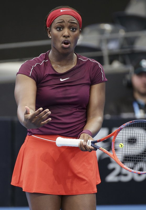 Sloane Stephens of the United States reacts after missing a shot during her match against Johanna Konta of Britain at the Brisbane International tennis tournament in Brisbane, Australia, Tuesday, Jan. (AP Photo/Tertius Pickard)