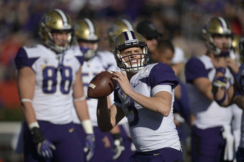 Washington quarterback Jake Browning warms up before the Rose Bowl NCAA college football game against Ohio State Tuesday, Jan. (AP Photo/Mark J. Terrill)