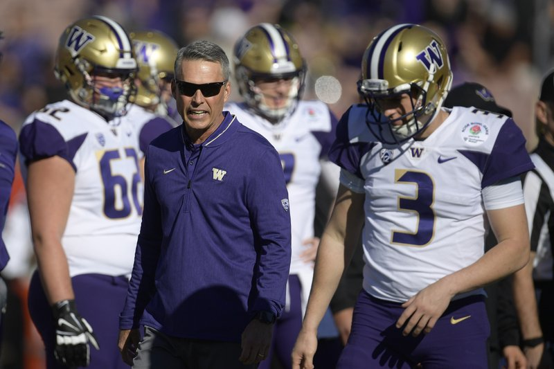 Washington head coach Chris Petersen watches during warm ups before the Rose Bowl NCAA college football game against Ohio State Tuesday, Jan. (AP Photo/Mark J. Terrill)