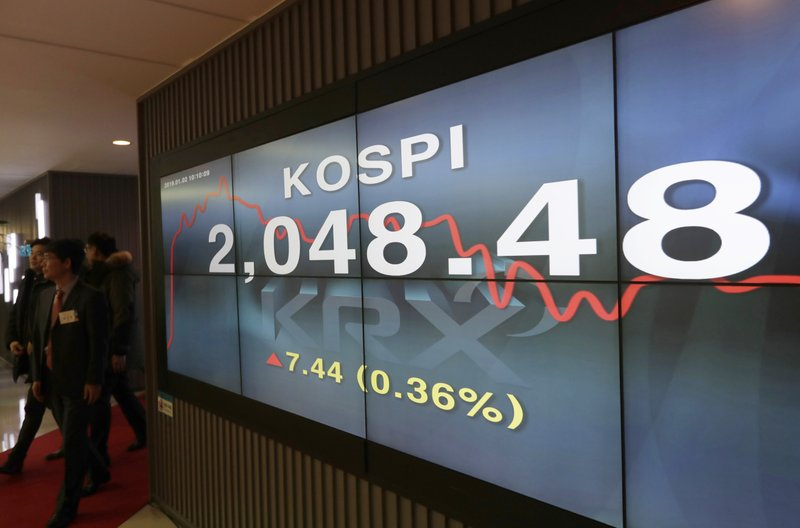 Participants leave after attending the 2019 trading year opening ceremony near the screen showing the Korea Composite Stock Price Index (KOSPI) at the Korea Exchange in Seoul, South Korea, Wednesday, Jan. (AP Photo/Lee Jin-man)
